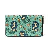 Starfish Mermaid Passport Long Purses Card Case Holder Travel Clutch Wallet Handbag