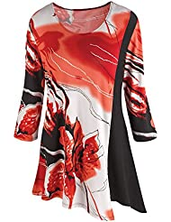 CATALOG CLASSICS Womens Tunic Top - Bold Iris Print Bias Cut Hem 3/4 Sleeve - Red/Black