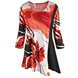 CATALOG CLASSICS Women's Tunic Top - Bold Iris Print Bias Cut Hem 3/4 Sleeve - Red/Black - 3X
