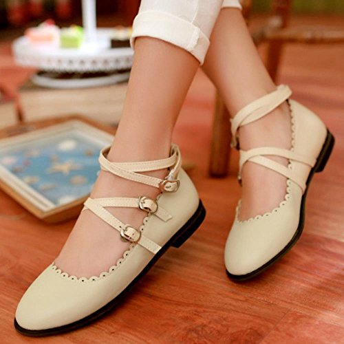 COOLCEPT Sweet Pumps Ankle Strap Flat Pumps Girls Court Shoes Beige LU2yDbzCKu