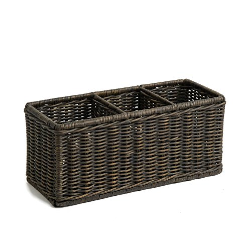 The Basket Lady Wicker Divided Organization Basket One Size Antique Walnut Brown (Wicker Divided Storage Basket)