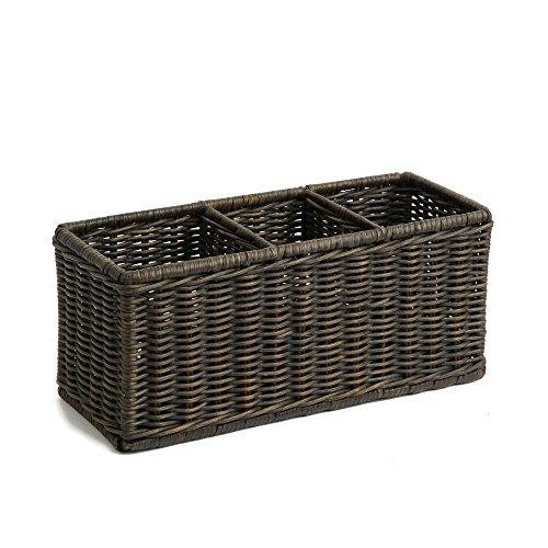 The Basket Lady Wicker Divided Organization Basket One Size Antique Walnut Brown