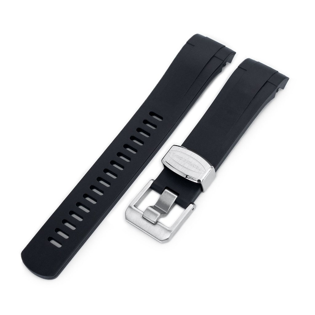 22mm Crafter Blue Rubber Watch Band, Color Black, Curved Lug for Tudor Black Bay M79230
