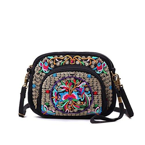 Abaría – Bolsos de bandolera tela con bordados flores - Bolsos de mano con desprendible del hombro correas – Vintage bolsa de mensajero pequeña para mujer chica Azul Floral