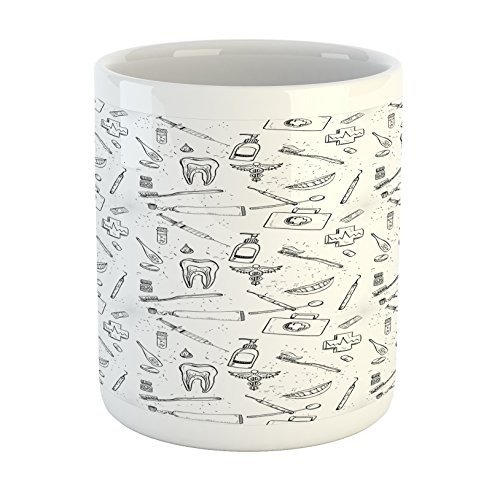 Ambesonne Doodle Mug, Hand Drawn Style Medical Pattern with Dental Hygiene Theme Teeth Care Cleaning, Ceramic Coffee Mug Cup for Water Tea Drinks, 11 oz, White and Black