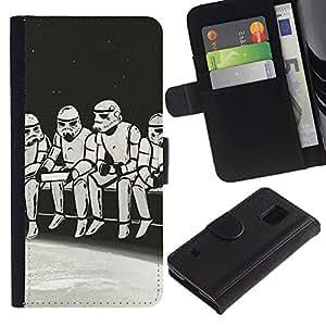KLONGSHOP // Tirón de la caja Cartera de cuero con ranuras para tarjetas - Strom Trooper Almuerzo - Iconic - Samsung Galaxy S5 V SM-G900 //