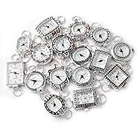 10Mix plata tono Ginebra Elite Reloj caras para Beading, bucles y pilas incluidas.