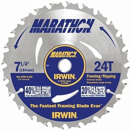 Irwin Tools Marathon Carbide Corded Circular Saw Blade 7 1 4 Inch 24t 24030 Circular Saw Blades Amazon Com