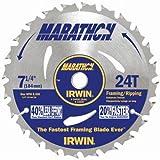 IRWIN Tools MARATHON Carbide Corded Circular Saw Blade, 7 1/4-inch, 24T (24030)