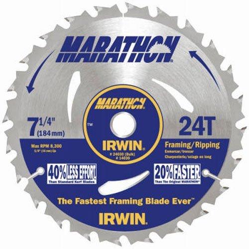 IRWIN Tools MARATHON Carbide Corded Circular Saw Blade, 7 1/4-inch, 24T (24030) ()