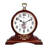 HAOFAY European Solid Wood Golden Mute Desk and Shelf Clock Decoration, Silent Quartz Table Clock Desk Clock