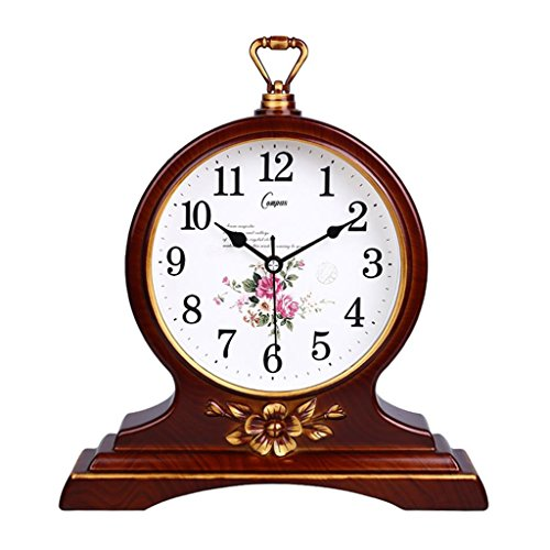 HAOFAY European Solid Wood Golden Mute Desk and Shelf Clock Decoration, Silent Quartz Table Clock Desk Clock by HAOFAY (Image #3)