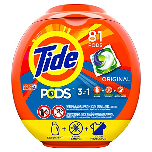 Contains 5 Refill Pads - Tide PODS 3 in 1 HE Turbo Laundry Detergent Pacs, Original Scent, 81 Count Tub, Packaging May Vary
