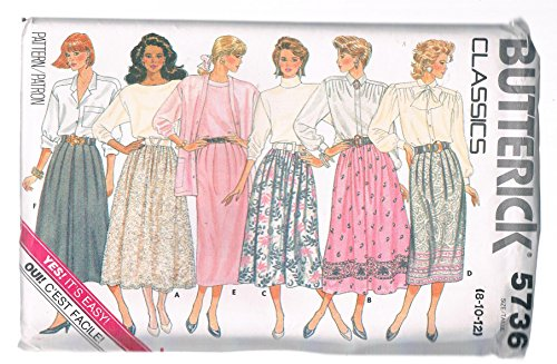 Butterick Classics Misses' Skirt Straight A Line or Slightly Flared (Size 8-10-12)