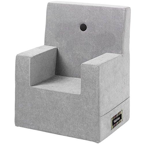 by KlipKlap Kids Chair XL - Velvet - Argent Velvet with dark grey button