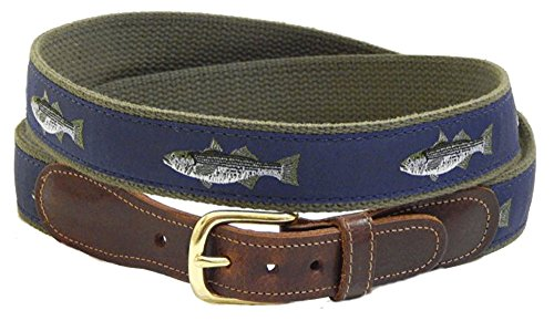 Striped Ribbon Belt (Preston Leather Ribbon Navy Blue Stripe Bass Fish Belt Men's Size 38)