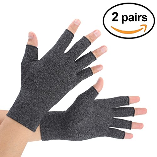Gloves Arthritis Hands - Arthritis Gloves 2 Pairs, Compression Gloves Support and Warmth for Hands, Finger Joint, Relieve Pain from Rheumatoid, Osteoarthritis, RSI, Carpal Tunnel, Tendonitis, Women and Men (Black, Medium)
