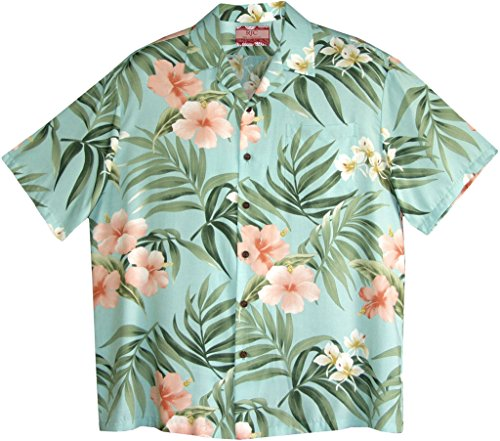 RJC Men's Breathtaking Island Getaway Rayon Hawaiian Shirt Aqua XL