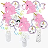 Rainbow Unicorn - Magical Unicorn Baby Shower Birthday Party Centerpiece Sticks - Table Toppers - Set of 15