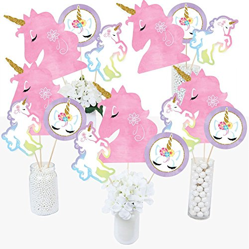 Centerpiece Table Birthday Party (Rainbow Unicorn - Magical Unicorn Baby Shower or Birthday Party Centerpiece Sticks - Table Toppers - Set of 15)
