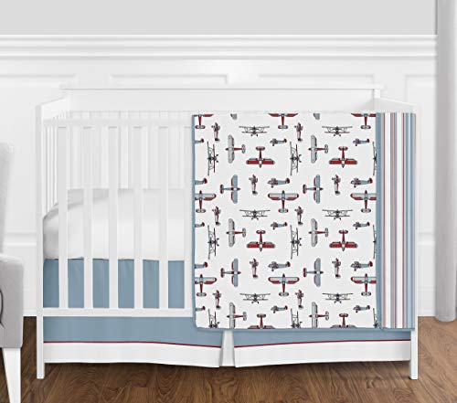 Red, White, Blue and Grey Vintage Airplane Aviator Baby Boy Crib Bedding Set Without Bumper by Sweet Jojo Designs - 4 Pieces ()