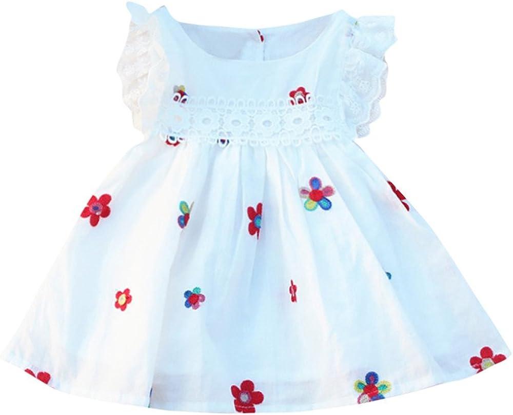 Walabe V/êTements B/éB/é Fille Naissance /ÉT/é Robe Floral Fraise Broderie sans Manches V/êTements pour Bebe Fills 6 Mois-5 Ans
