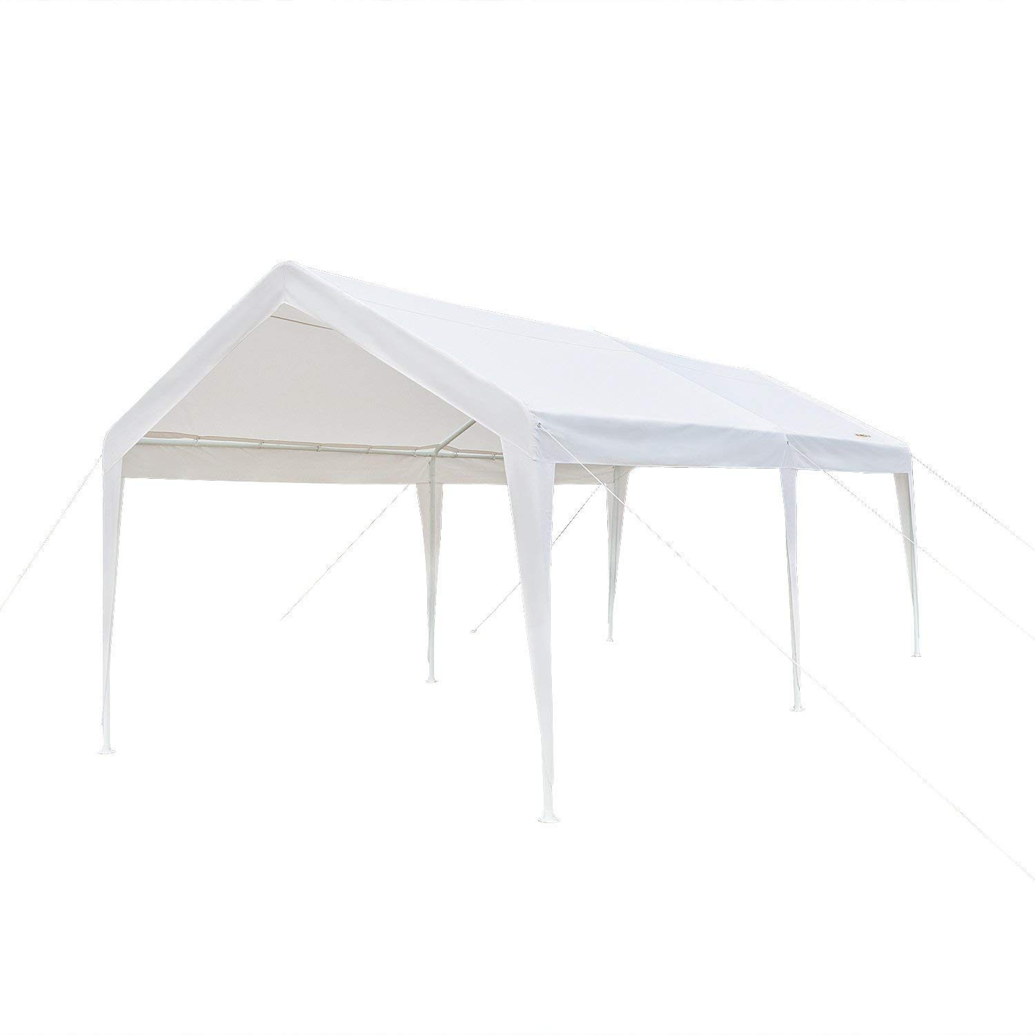 VINGLI 10' x 20' Heavy Duty Carport Car Canopy w/Edge Cover, Car Park, Anti UV Waterproof, Upgraded Steady Steel Legs, Versatile Garage Vehicle Shelter, White