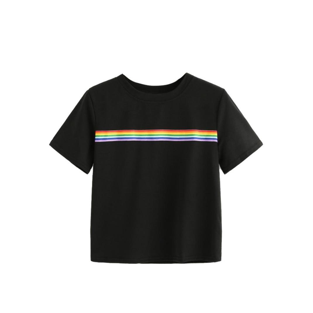TIFIY Frauen Sommer Regenbogen Block Gestreiften Crop Top Schulmädchen Teen Mode T-Shirts Junge Energetische Bluse TIFIY-tops-0619