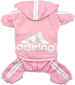 Scheppend Original Adidog Pet Clothes for Dog Cat Puppy Hoodies Coat Doggie Winter Sweatshirt Warm Sweater Dog Outfits, Pink Medium