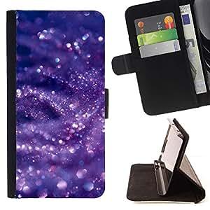 For HTC One M9 Case , Glitter Nieve Burbujas Púrpura- la tarjeta de Crédito Slots PU Funda de cuero Monedero caso cubierta de piel