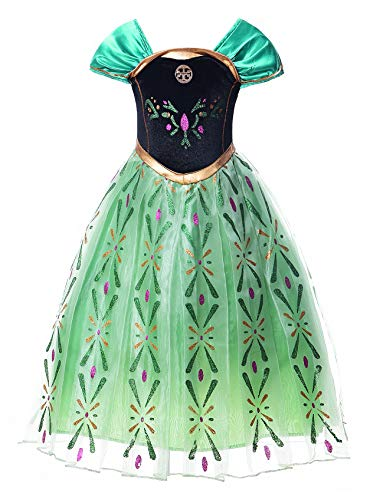 JerrisApparel Snow Party Dress Queen Costume Princess Cosplay Dress Up (6-7, Green -