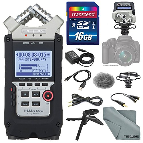 Zoom H4nPro Four-Channel Handy Audio Recorder – Accessory Pack kit, Microphone Shock mount, Table tripod, 16GB, along with Fibertique Cleaning cloth (Zoom Recorder H4n)