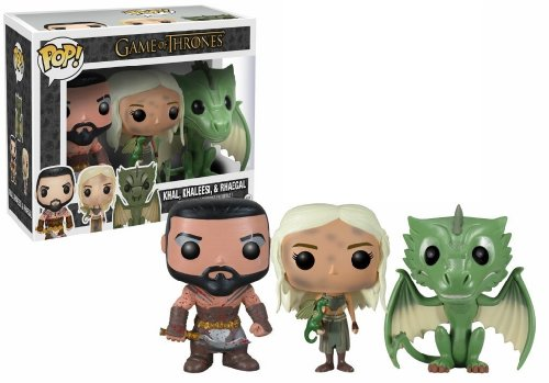 Funko POP Game of Thrones Exclusive Vinyl Figure Set of 3 (Khal, Khaleesi & Rhaegal) by FunKo