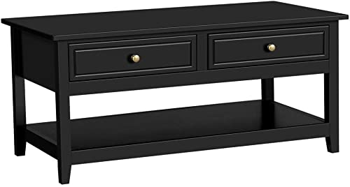 Yaheetech Modern Coffee Table with Drawers and Storage Shelf, Black Accent Cocktail Table Occassional Table for Living Room Furniture 41.1L Inch, Black