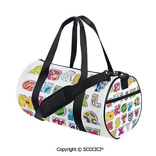 Canvas cylinder sports bag,Full Set of Alphabet with Various Designs Abstract Dots Squares Splashes Pattern DecorativeInner Dark Grid,(17.6 x 9 x 9 in) Multicolor
