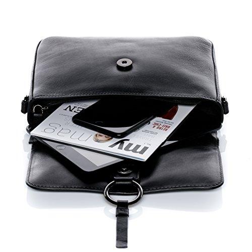 7e50ef9aa725c ... FEYNSINN Clutch mit langem Schultergurt VIGA - Umhängetasche klein -  Abendtasche - echt Leder schwarz ...