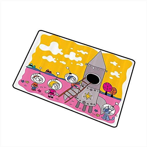Jbgzzm Bedroom Doormat Cartoon Decor Collection Hero Astronaut Kids with The Rocket Space Ship Childhood Dream Fun Artwork Print W35 xL47 Easy to Clean Carpet Yellow Fuchsia