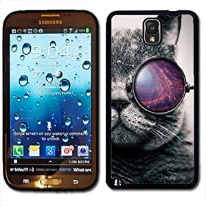 Samsung Galaxy Note 3 Black Rubber Silicone Case - Tumblr Cat Galaxy Glasses