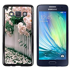 LECELL--Funda protectora / Cubierta / Piel For Samsung Galaxy A3 SM-A300 -- Roses White Pink Blossoming --