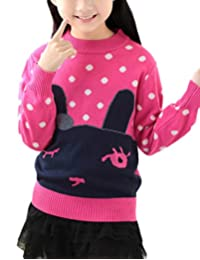 MFrannie Girl Cartoon Rabbit Simple Dot Casual Pull On Knit Sweater