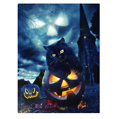 Halloween Pumpkin DIY 5D Diamond Painting Full Drill by Number Kits - Crystal Rhinestone Diamond Embroidery Paintings Pictures Arts Craft Cross Stitch for Home Wall Decors Decorations Gifts #9 (D)