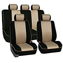 FH Group FB063BEIGE115 Universal Fit Full Set Cloth Car Seat Cover with Piping Airbag & Split Ready, (Beige/Black) (FH-FB063115, Fit Most Car, Truck, Suv, or Van)