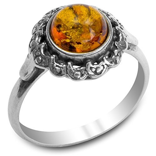 Victorian Style Ring (Amber Sterling Silver Victorian Style Ring)