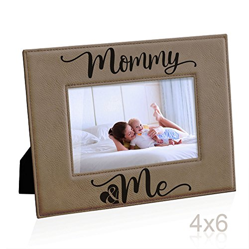 Kate Posh Mommy and Me Engraved Leather Picture Frame, First (1st), Gift for Mom, from Daughter or Son, New Mom, Mommy & Me, I Love You Mom, Best Mom Ever Gifts (4x6-Horizontal)