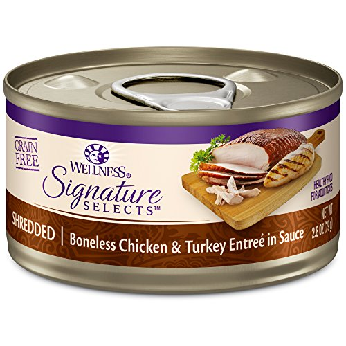 Wellness Core Signature Selects Grain Free Wet Canned Cat Food, Shredded Chicken & Turkey, 2.8-Ounce (Pack Of 12)