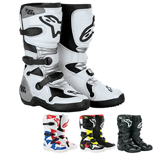 Alpinestars Tech 6S Boy's Off-Road Motorcycle Boots - Black/Red/Yellow / 5