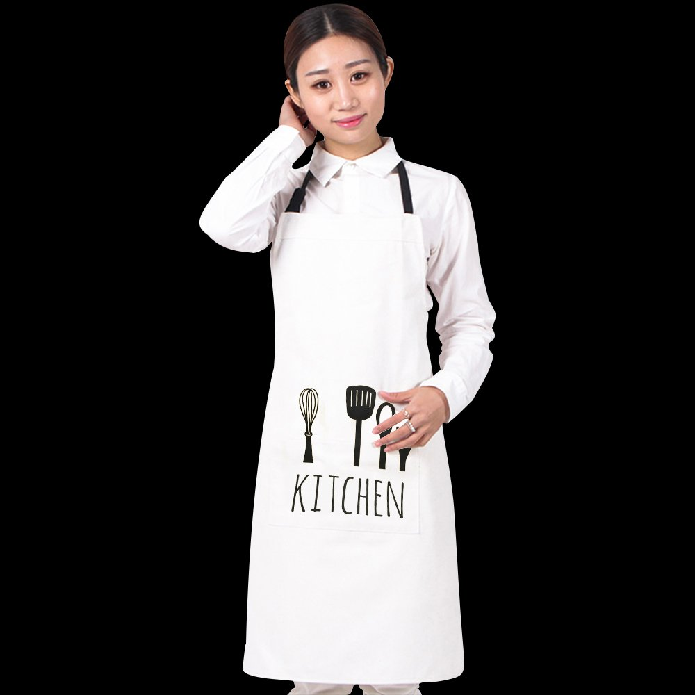 100% Cotton Cooking Kitchen Aprons Restaurant Apron for Women Men Chef,Waterproof Kitchen Apron with Big Pockets Adjustable Bib for Cooking, Crafting, Gardening Restaurant 5 Color ZLY