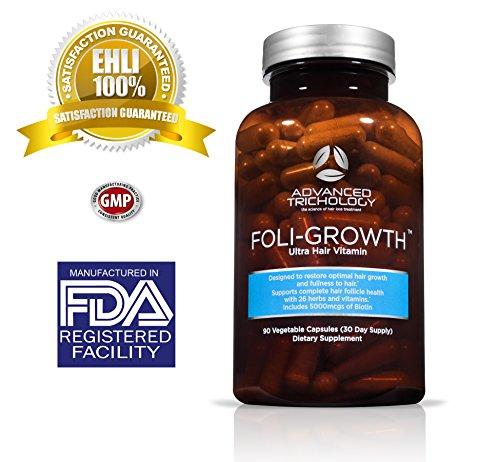 FOLIGROWTH Ultra cheveux vitamine avec haute puissance biotine et acide folique - comte 90