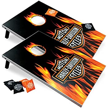 Harley Davidson Flame Cornhole Set, 2x3, Wood, Lightweight, Portable, Comes