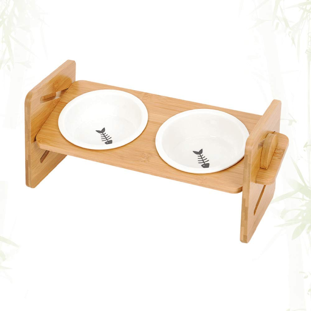 B TIKEN Cat Bowl Elevated Raised Pet Bowls Food Feeding For Cats Small Dogs With Elevated Bamboo Non-Slip Stand Feeder Four Height Adjustable,B